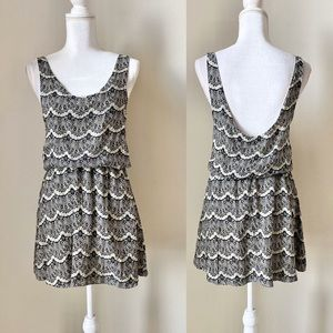 THML black and white mini dress with open back